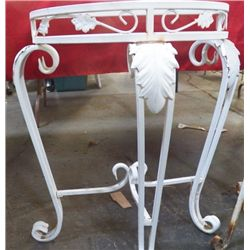 """White Metal Table Approx. 23"""" x 12"""" deep x 27"""" tall wide no top"""