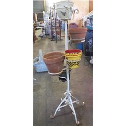 """5 Pot Wrought Iron Plant Holder Approx 19"""" x 49"""" with pots"""