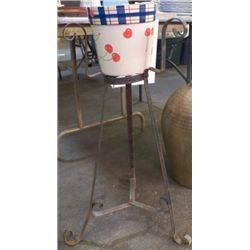 """Old Wrought Iron Plant Stand Approx 17"""" x 31"""""""
