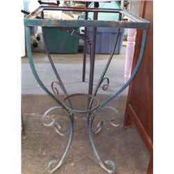 """Wrought Iron Plant Table Needs Top Yard Art Approx size 14"""" x 26""""  can use glass for top or marble"""