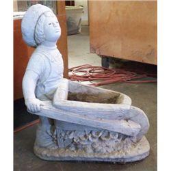 "Garden Statue Boy With Wheelbarrow Yard Art Approx size 17"" x 22"""