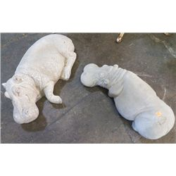 """2-  Cement Hippo's Large one is 20"""" x 11"""" approx Smaller one is 20"""" x 8"""