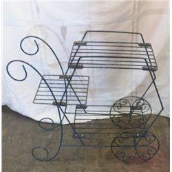 """Metal Flower Cart Stand Yard Art 27""""x24""""approx."""