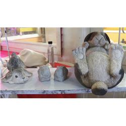 """3-  Ceramic Bunnies For Yard, 1-Bunny on Back largest 13""""x9""""approx.  Bunny on back is not cement"""