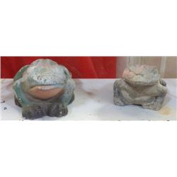 """2 - Yard Art Ceramic Frogs larger one is 10""""x6"""" smaller one 9""""x5""""approx."""