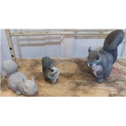 """3 Yard Art  squirrels 1- Cement large one is 9""""x9"""""""