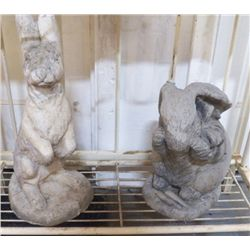 """2 Yard Art Cement Rabbits for Yard large one is 9""""x16"""" has crack on bottom and smaller is 8""""x12"""""""