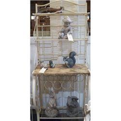 "metal bakers rack with wood shelf 28""x19""deep and 67"" tall"