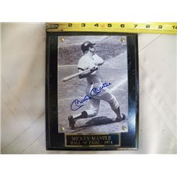 Mickie Mantle Autographed Plaque 1974 With COA