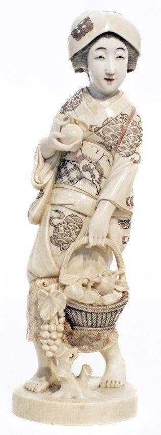 Japanese Carved Ivory Figure Of A Geisha