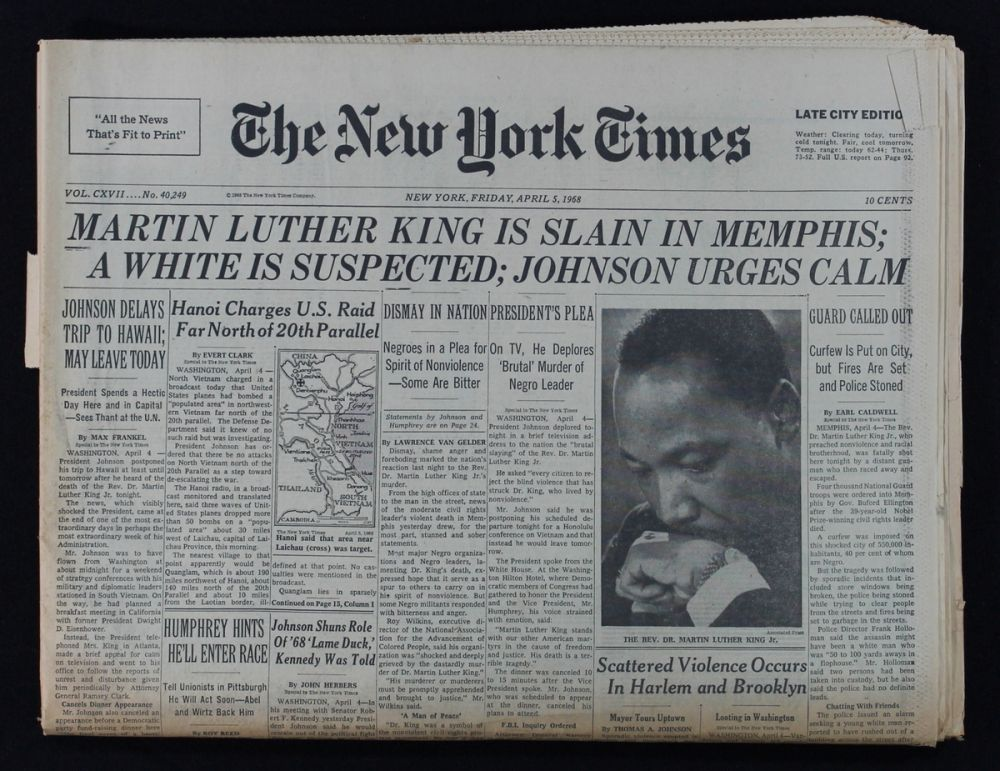 Original 1968 Newspaper from Martin Luther King Jr
