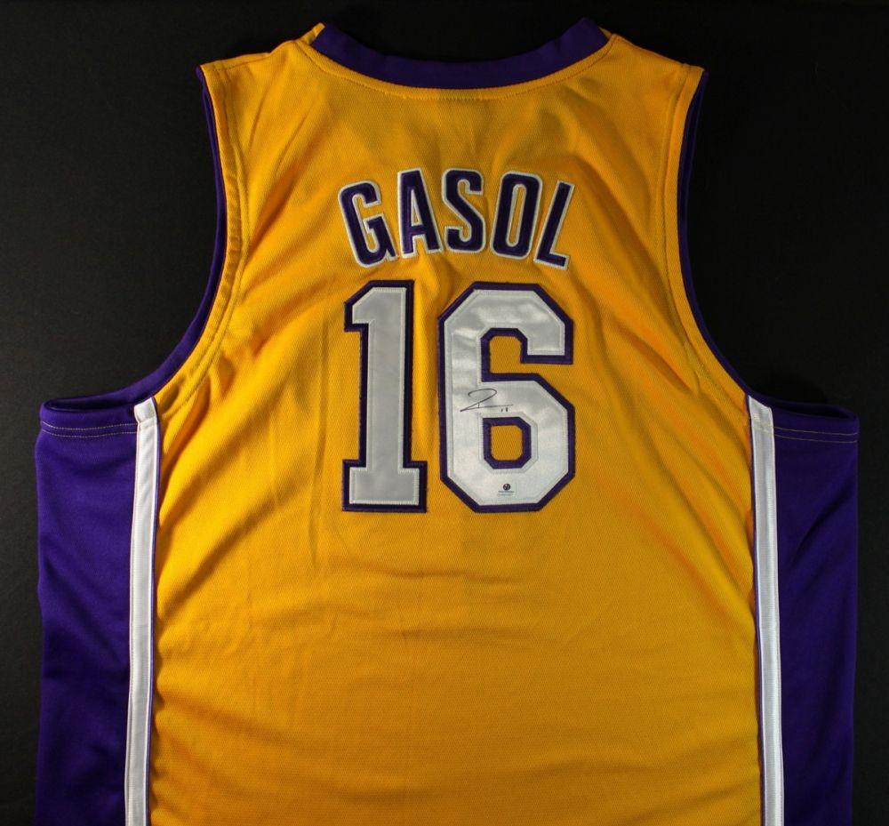the latest aef26 2f02b Pau Gasol Signed Lakers Jersey (GA COA)