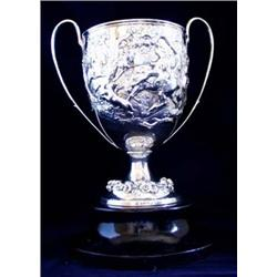 A FINE VICTORIAN SILVER TWO HANDLED TROPHY by Robert Hennell, finely decorated a Royal hunting scene