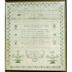 A WILLIAM IV SILK WORK SAMPLER on linen by one Maria Sanders aged 9, dated 1836, with alphabet, numb
