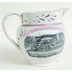 A LARGE 19TH CENTURY SUNDERLAND LUSTRE JUG with west view of the Iron Bridge over the Wear and text.