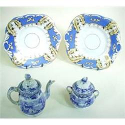 AN EARLY 19TH CENTURY DAVENPORT CHILD'S TEA POT AND COVERED TWO HANDLED SUCRIER transfer printed pea