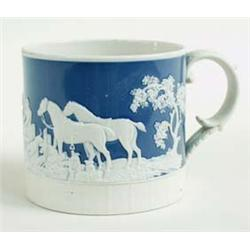 A FINE RIDGWAYS BLUE JASPERWARE MUG of huntsmen and hounds, with basket weave banding to base and sc