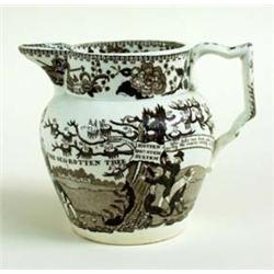 A 19TH CENTURY CREAMWARE REFORM JUG transfer printed in brown, Constitution Hill, the old rotten tre