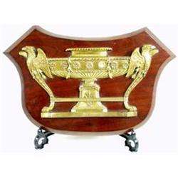 A FINE REGENCY ORMOLU FURNITURE MOUNT in the form of an urn with eagle head and wing end support, te