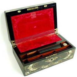 A FINE 19TH CENTURY MOTHER OF PEARL INLAID AND GILDED COROMANDEL WRITING BOX the superior fitted int