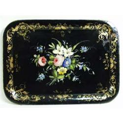 A FINE VICTORIAN BLACK JAPANNED RECTANGULAR TRAY hand painted bright summer flowers to the centre wi