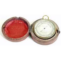 """A CASED LATE 19TH CENTURY ANEROID POCKET BAROMETER by Salom & Co, Edinburgh and London, 1.75"""" diamet"""