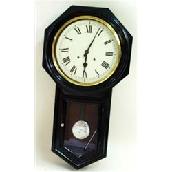 A LATE 19TH CENTURY AMERICAN DROP DIAL WALL CLOCK the eight day movement with painted dial and strik