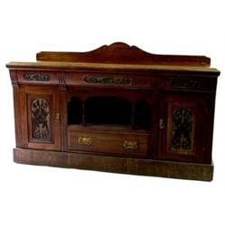 A LATE 19TH CENTURY AMERICAN WALNUT SIDEBOARD with shallow shaped back, the top with moulded edge ov