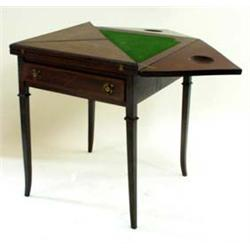 AN EDWARDIAN MAHOGANY ENVELOPE CARD TABLE with ebony and satin wood inlay, single fitted drawer to f