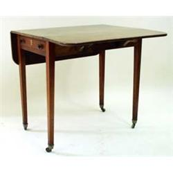 "A 19TH CENTURY MAHOGANY PEMBROKE TABLE with ""D"" shaped drop leaves, having a single drawer with oppo"