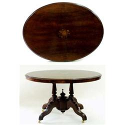 A VICTORIAN OVAL WALNUT LOO TABLE the top moulded to edge and string inlaid with floral inlay to cen