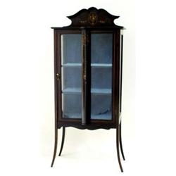 AN EDWARDIAN MAHOGANY STAINED DISPLAY CABINET with shallow shaped raised back, the top over a plain.