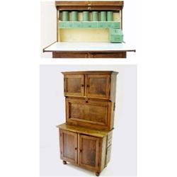 "A ""QUICKSEY"" KITCHEN CABINET the top with panelled cupboard doors over a long panelled fall door wit"