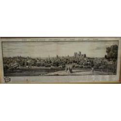 "AN ENGRAVING the south east prospect of the City of York 1745, annotated, 9.75"" x 30.75"" £60-100..."