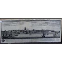 "AN ENGRAVING the south east prospect of Kingston upon Hull 1745, annotated, 9.5"" x 30.5"" £60-100..."