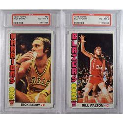 1976 TOPPS #50 RICK BARRY & #57 BILL WALTON PSA NM-MT 8