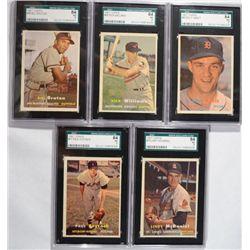5-1957 TOPPS BASEBALL CARDS ALL SGC 84 NM