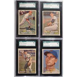 4-1957 TOPPS BASEBALL CARDS SGC 84 NM 7