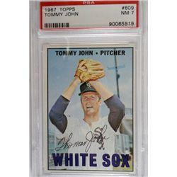 1967 TOPPS #609 TOMMY JOHN PSA NM 7