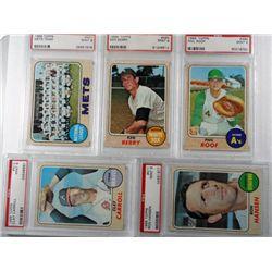 5-MINT 9 PSA BASEBALL CARDS 1968 TOPPS