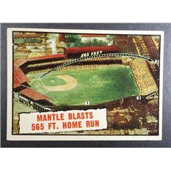 1961 TOPPS #406 MANTLE BLASTS 565 HOME RUN  EX