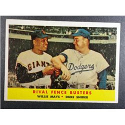 1958 TOPPS #436 MAYS/SNIDER FENCE BUSTERS EXCELLENT