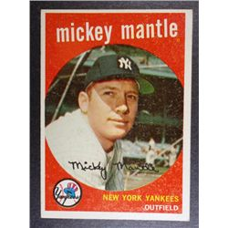 1959 TOPPS #10 MICKEY MANTLE NICE EXCELLENT