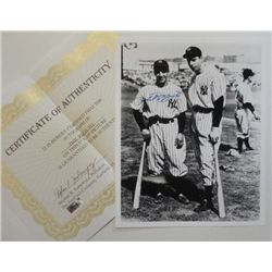 8 X 10 PHIL RIZZUTO AUTOGRAPHED PHOTO PICTURED WITH DiMAGGIO