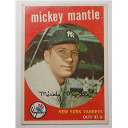 1959 Topps #10 Mickey Mantle VGEX+ No Creases, Nice Card