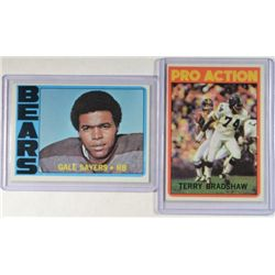 1972 TOPPS FOOTBALL #110 GALE SAYERS & #120 TERRY BRADSHAW