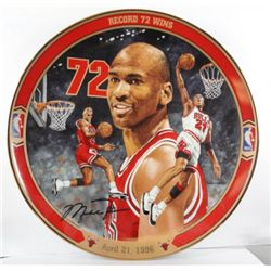 "MICHAEL JORDAN COLLECTOR PLATE ""RECORD 72 WINS"""