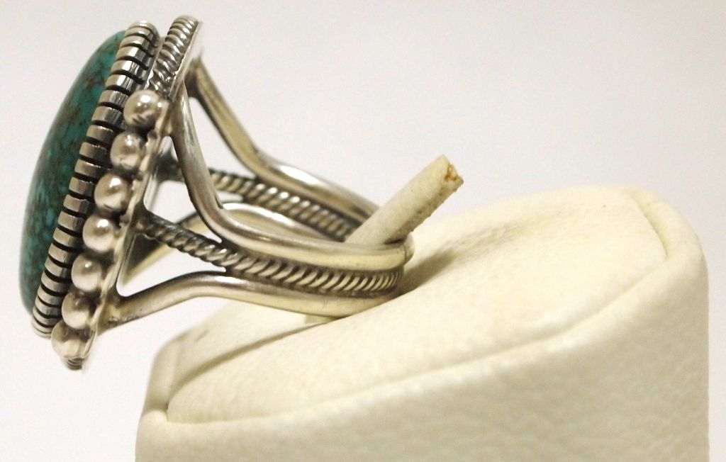 e72537994431 ... Image 3   Old Pawn Navajo Spider Web Kingman Turquoise Sterling Silver  Men s Ring - Kirk ...