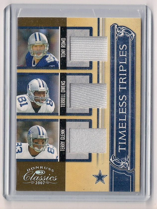 new products 6331d 0d2dc 2007 Donruss Classics Tony Romo/Terrell Owens/Terry Glenn Triple Game-Used  Jersey Card-#/250!