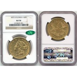 1873-S Closed 3 $20 Liberty NGC AU58 CAC